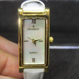 PEUGEOT 14K GP MOP Roman Numeral Face White Band